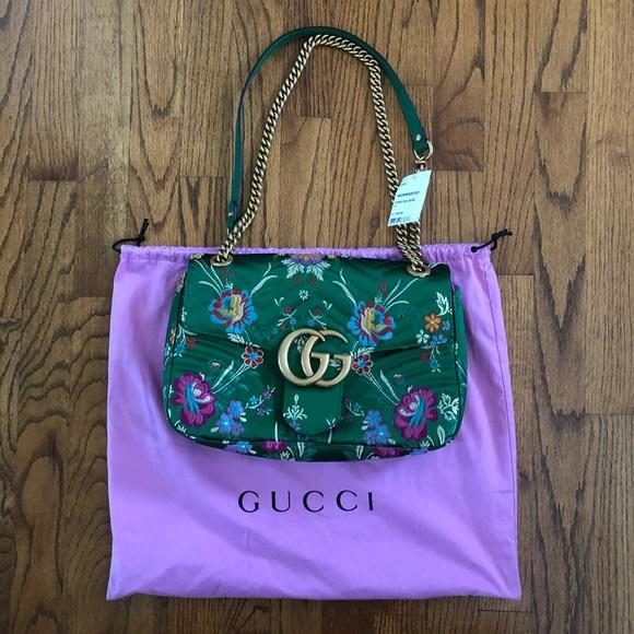 Gucci Handbags - Gucci Marmont Handbag Medium Green Floral Silk